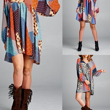 Eliza Bella for Velzera Boho Paisley Patch Print Dress SML 3 Colors