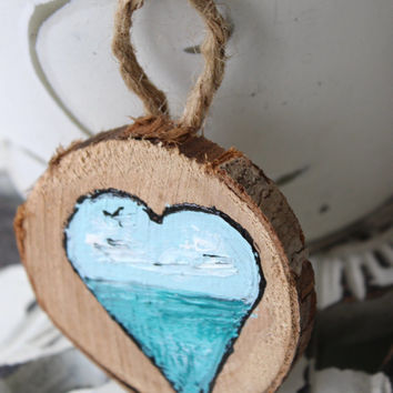 Beach Love Driftwood Ornament / Wall Hanging  hand painted Ombre Coastal Art