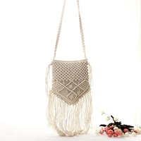 Bohemian Boho Summer Handmade Tassel Crochet Knitting Brand Crossbody Bags Casual Shoulder Bag