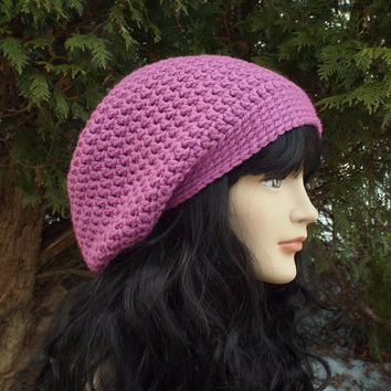 Orchid Slouch Beanie - Womens Slouchy Crochet Hat - Ladies Oversized Cap - Baggy Beanie - Light Purple Chunky Winter Hat