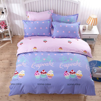 4Pcs Creative Princess Sweet Cartoon Style Quilt Cover Bed Sheet Pillow Case Twin Full Queen Size