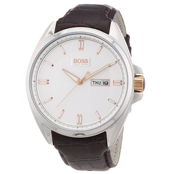 Hugo Boss 1512876 Men's Silver Dial Brown Leather Strap Watch