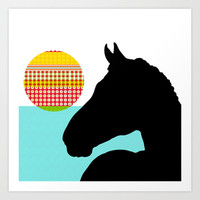 Horse and the setting sun Art Print by Simi Design