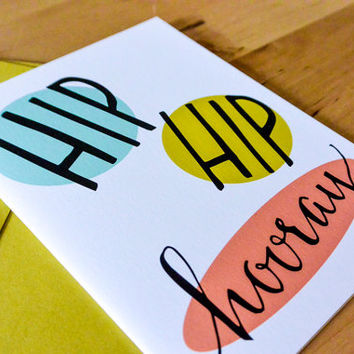 Hip Hip Hooray Greeting Card - hand-drawn, paper goods, stationary, greeting card, congrats, congratulations, wedding card, bridal shower
