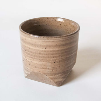 Faceted Rock Ceramic Teacup Wheat