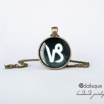 Capricorn sign pendant European Zodiac necklace earth sign gift jewelry bronze for him for her jewellery key ring