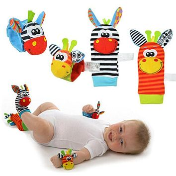 2pcs Baby Rattles Stuffed Toys Animal Socks Plush Rattle with Ring Bell Toy For Toddlers Learning Education Toys