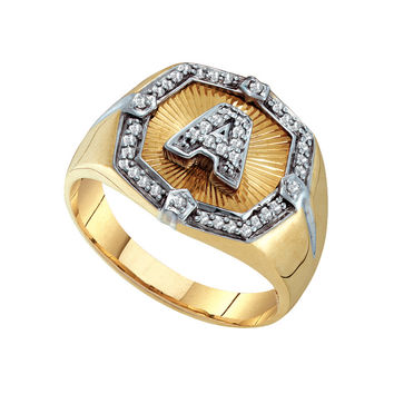 Diamond Initial A Ring in 10k Gold 0.3 ctw