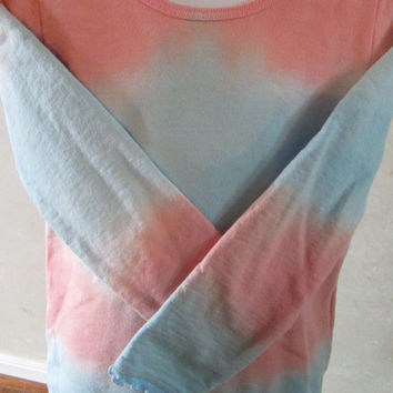 Girls, Peach, blue, stretchy long sleeve shirt, French Terry, Size 8, ruffled edges at sleeves and hem, machine wash and dry, easy care