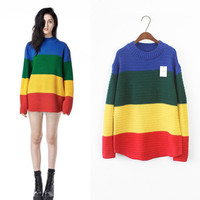News Arrival 2016 Unif Females Sweaters Harajuku Striped Crocheted Pullovers Girls Sweater Hit Color Gradient Womens SWD0351-4.5