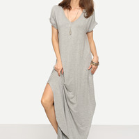 Grey V-Neck Rolled Cuff Side Pockets Split Maxi Dress