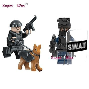 50pcs Super Hero Military Figures Police with Shield Gun Weapon Bricks Model Spider Man Deadpool building block for children toy