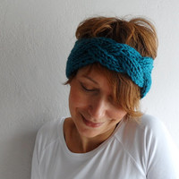Teal Blue Headband  Braided Headband Chunky Ear warmer Head wrap Knitted Headband Winter Accessories