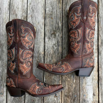 CORRAL BOOTS BROWN FLORAL STITCH
