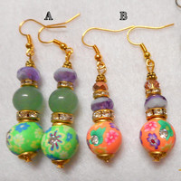 Spring Earrings, Easter Earrings, Spring Jewelry, Easter Jewelry, Gold Earrings, Dangle Earrings, Spring colors, Peach Color, Lime Color