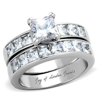 A Perfect 1.4CT Princess Cut Solitaire Russian Lab Diamond Bridal Set Wedding Band Rings