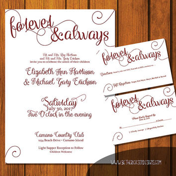 Forever & Always Wedding / Fairytale Wedding Suite / Maroon Wedding Invitation / Fairy tale  / White/ fairytale / Brick Red / Wedding