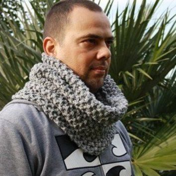Hand Knit  Scarf  Cowl - Mens scarf - Chunky Knit  cowl in Silver Gray Loop Neck warmer- menswear -Valentines day- men fashion -mad - winter