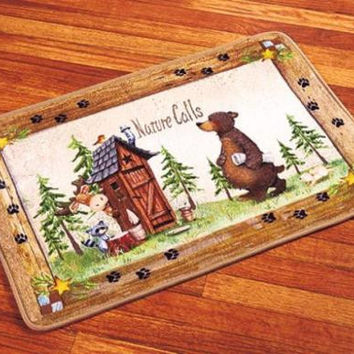 Bathroom Rug Nature Calls Outhouse Cabin Lodge Country Bear Raccoon Whimsical