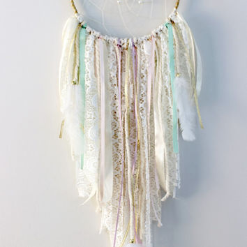 Dream Catcher, Tribal Baby Shower, Dreamcatcher, Baby Mobile, Pastel Decor, Unicorn Nursery Decor, Gold and Pink First Birthday, Boho Chic