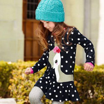 Lovely Baby Girls Dress Kids Long Sleeve O-neck Dress One-piece Dots Printed Deer Cotton Toddlers Girl's Dresses Clothes