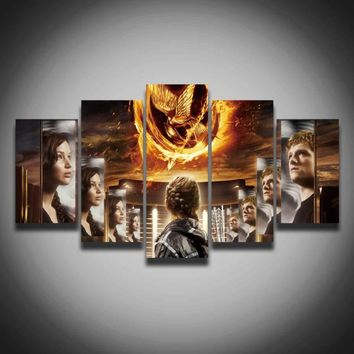 Printed cool movie poster The Hunger Games picture spray painting 5 panels /set for boy's room home wall decor Canvas Print art