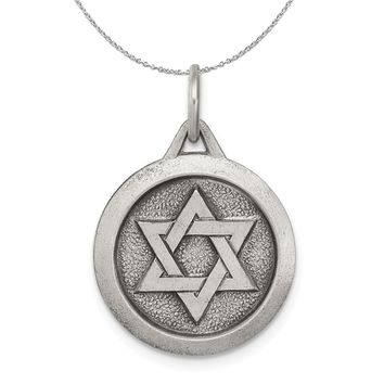 Sterling Silver Antiqued Star of David Medal, 17mm Necklace