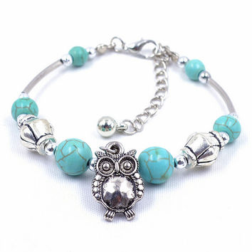 Charm Bangle Jewelry Birthday Gift Women Vintage Charm Jewelry Silver Plated Owl Turquoise Bracelets SM6