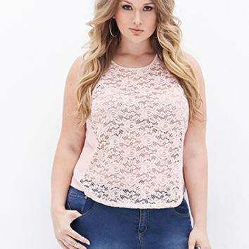 FOREVER 21 PLUS Lace Chiffon Paneled Top Light Pink