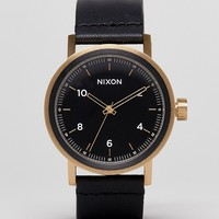 Nixon Stark Leather Watch In Black/Gold at asos.com