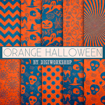 "Halloween Digital Paper: Halloween Paper Pattern or Pumpkin Halloween Backgrounds - ""Orange Halloween"""