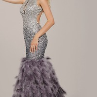 Feathered High Neck Mermaid Style Prom Dress by Jovani