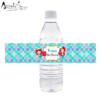 Mermaids Water Bottle Wrappers Little Mermaids Water Bottle Labels Kids Birthday Party Decorations Supplies Mermaids Baby Shower