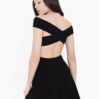 Ponte Off Shoulder Crossback Skater Dress | American Apparel