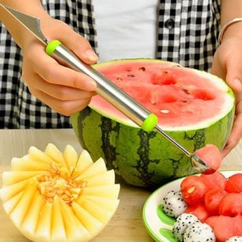 Stainless Steel Melon Baller Fruit Carving Knife Double Side Melon Scoop Vegetable Carving Tool