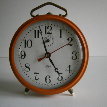 vintage french old alarm clock JAPY  mechanical //france//color orange//french country///home decor// shabby chic// loft