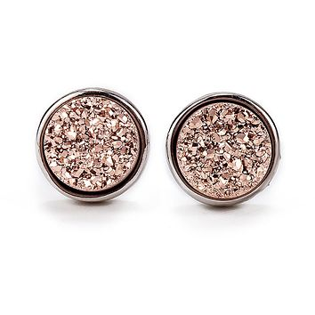 Silver Rose Gold Druzy Studs