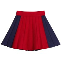 Little Marc Jacobs Girls Navy & Red Knitted Skirt