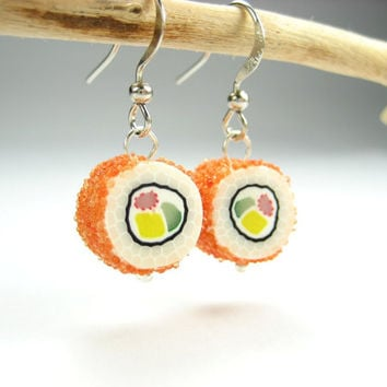 California Maki Sushi Earrings - food jewelry earrings polymer clay