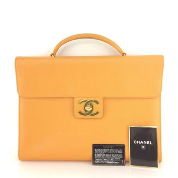 AUTH Vintage CHANEL Yellow CC Caviar Leather Briefcase Business Handbag Bag