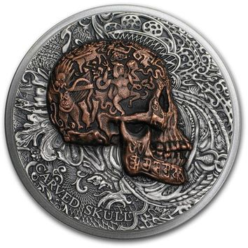 2017 Cameroon 1 oz Silver Carved Skull Bones (Ultra High Relief)
