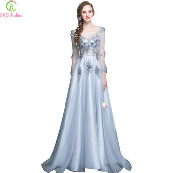 Evening Dress The Bride Banquet Grey Slim Sexy V-neck 3/4 Sleeves Lace Flower Long Party Prom Dress Custom