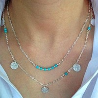 Turquoise Multi layer Necklace Set with Hammered Disc Pendants