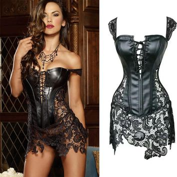 sexy leather corsets skirt lace-up hollow out corsele black faux leather lace Shaper Bustier Plus Size Steampunk Corset Dress