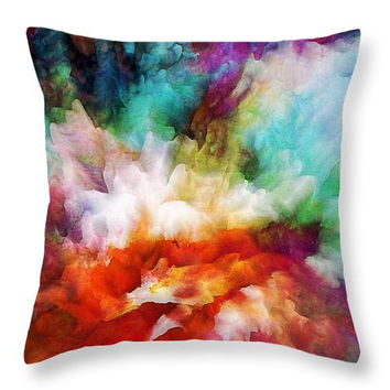 Custom made decorative  throw pillow. With a colorfully vivid abstract liquid color explosion print.