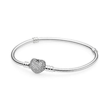 925 Sterling Silver Bracelet Bangles Moments Pave Heart Clasp Clear CZ For Women fit Pandora Beads Charms Pendant Jewelry