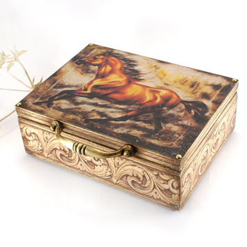 To meet the wind , Arabian horse Box, Year of the Horse 2014,Vintage look wooden box , box for money / MADE TO ORDER
