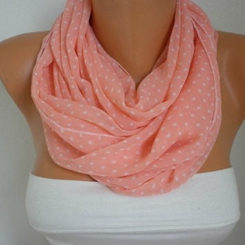 Salmon  Scarf  Polka Dots Infinity Scarf Shawl Circle Scarf Loop Scarf Gift - for her -- fatwoman