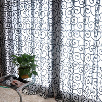 Floral Design Sheer Curtain