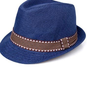 Blue Jean Look With Brown Band Baby Prop Fedora Hat - CCHT112